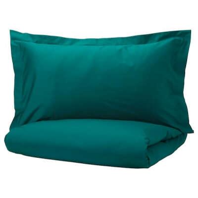 Купить ЛЮКТЭСМИН Пододеяльник и 2 наволочки, темно-зеленый, 200x200/50x70 см по выгодной цене - IKEA