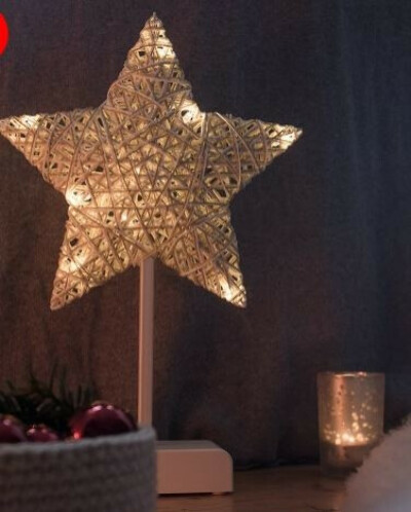 SnowEra Luz Decorativa LED en Forma de Estrella Color Blanco – Luz Navideña sin Cable con 10 LED – Pilas Incluidas – Aspecto Ratán
