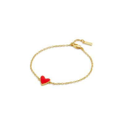 Позолоченный браслет с красным сердцем Red heart Or