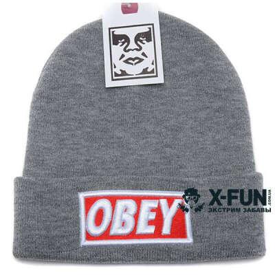 Шапка Obey big logo серая