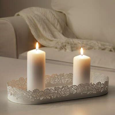 Тарелка для свечи, овал белый35x15 см