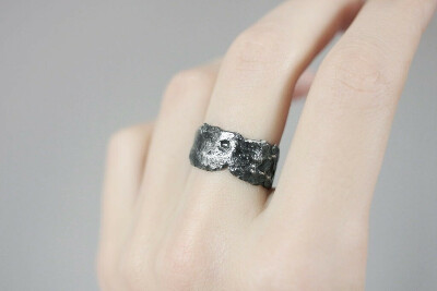 Dari Jewelry — «Dark asteroid» ring (wide)