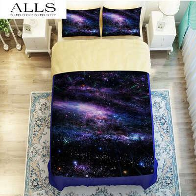 Hipster Galaxy 3D Bedding Set Universe Outer Space Themed Galaxy Print Bedlinen Duvet cover & pillow caseTwin queen king size купить на AliExpress
