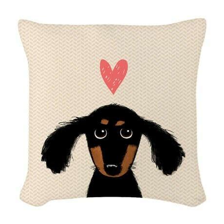 Dachshund Love Woven Throw Pillow