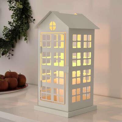 ВИНТЕРФЕСТ Подсвечник для формовой свечи - домик, белый - IKEA