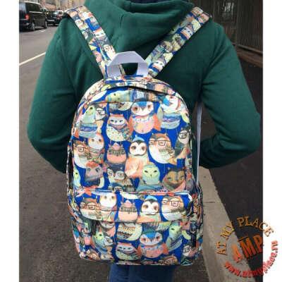 """Синий рюкзак """"Совы"""""""