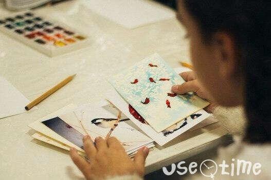Новогодняя открытка в технике акварель в Казани