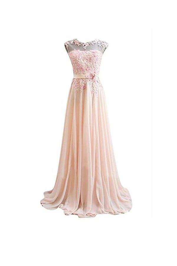 Anneprom A Line Pink Long Lace Chiffon Prom Evening Dresses APB0033