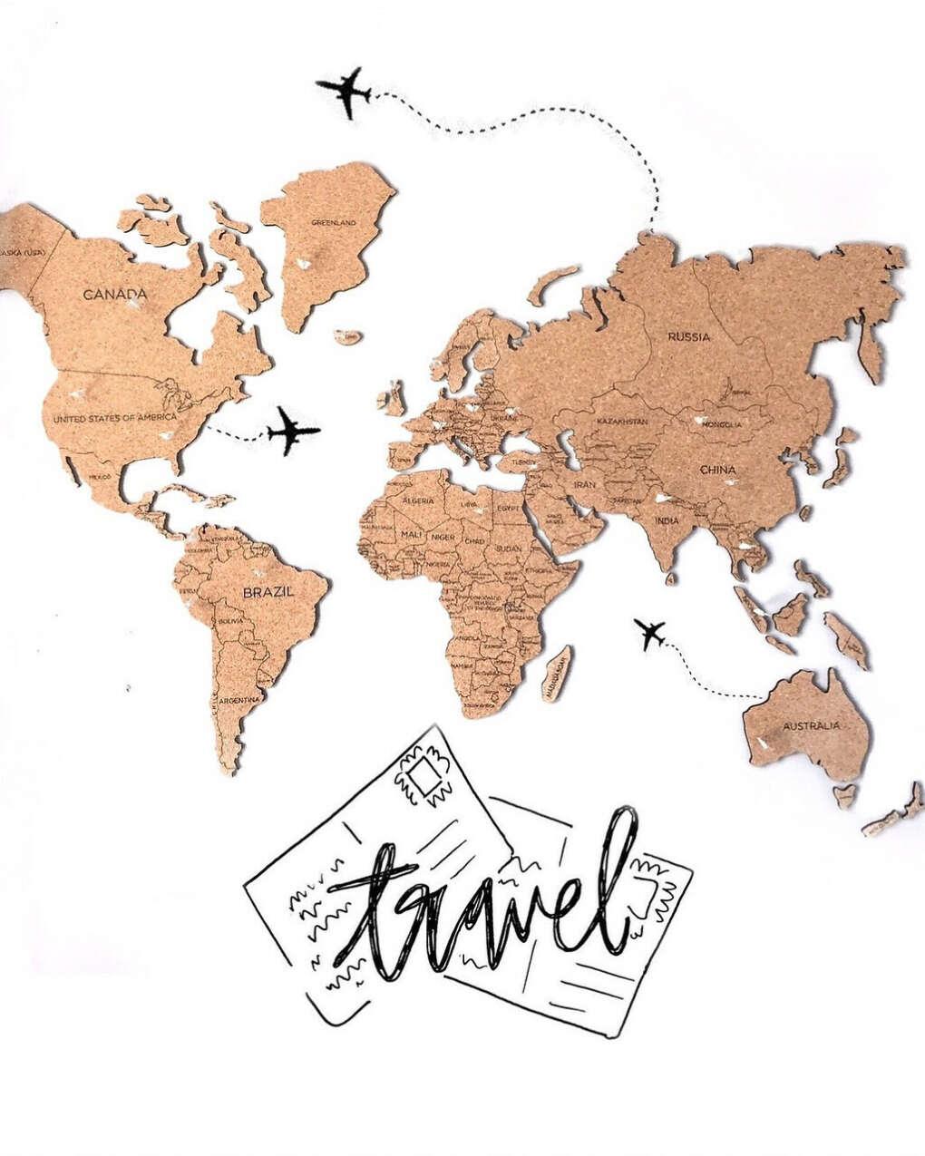 Пробковая карта мира на стену