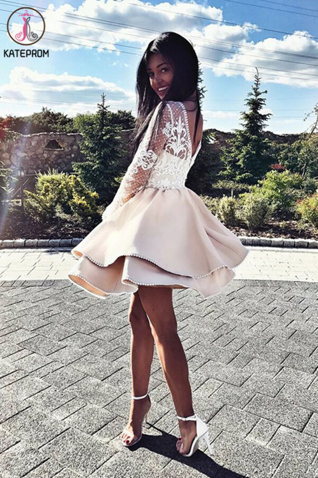 Kateprom A Line Long Sleeve Satin Short Homecoming Dress, Lace Mini Party Dresses KPH0539