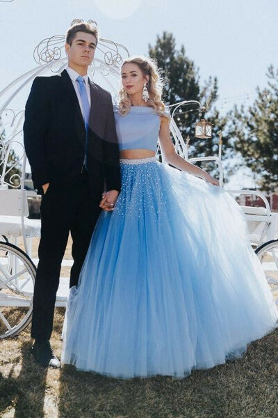 Stunning A Line Off the Shoulder Two Piece Sky Blue Tulle Prom Dresses PFP0669
