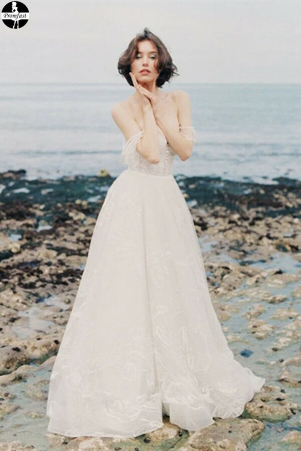 Promfast A-line Removable Spaghetti Straps Beach Wedding Dress Sweep/Brush Train White Lace Wedding Dresses PFW0528