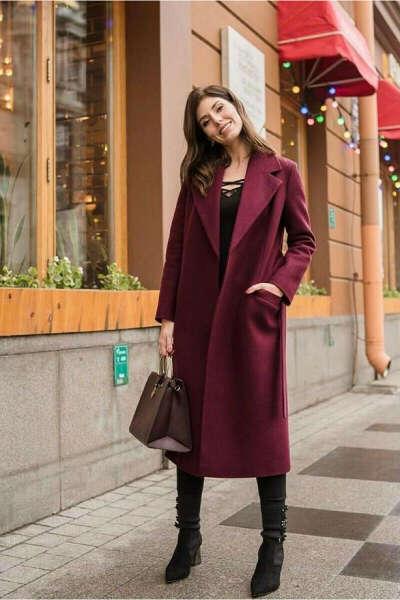 Пальто бордовое до колен