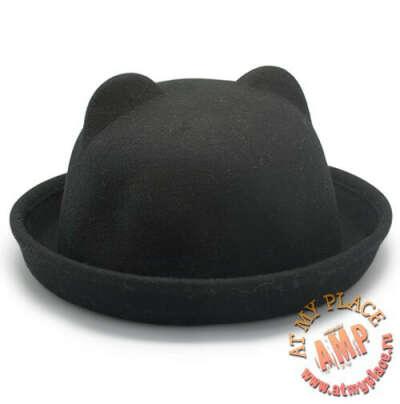 Шляпа с ушками Felt Cat (черная)