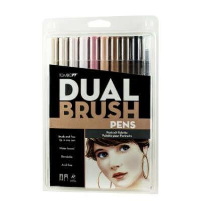 Tombow Dual Brush Pen Set, 10-Pack, Portrait Colors