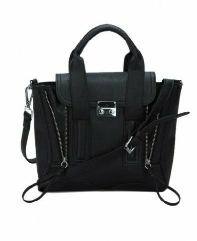 Double Zips Rectangular Shoulder Bag