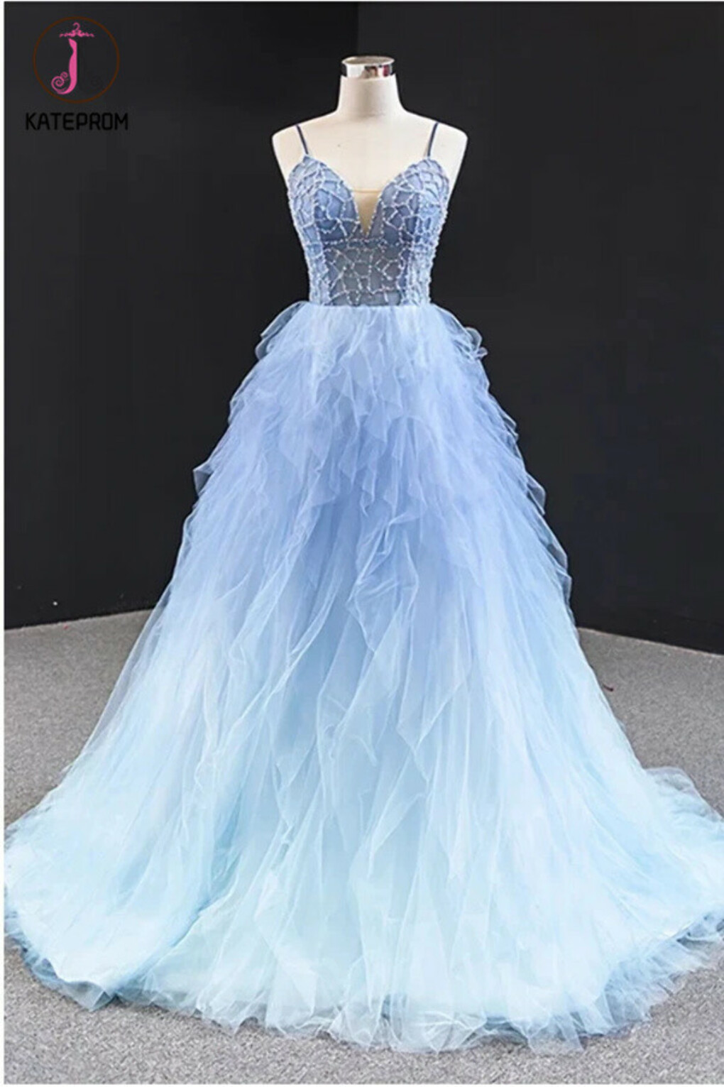Kateprom Cheap Long Light Blue Tulle Beaded Open Back Ruffles Prom Dress online KPP1324