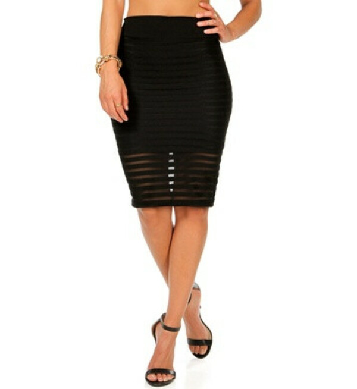 Illusion Stripe Pencil Skirt
