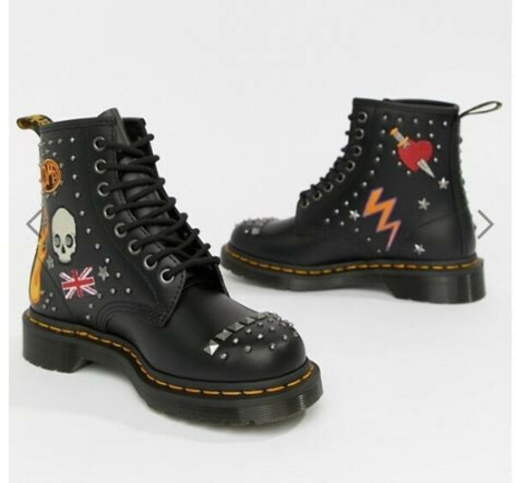 Черные кожаные ботинки Dr. Martens