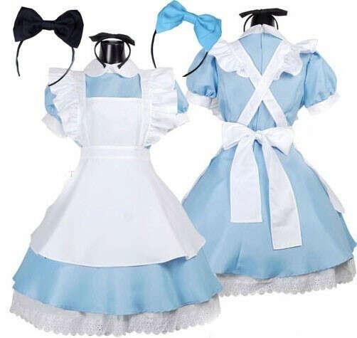 Halloween Maid Costumes Womens Adult Alice in Wonderland Costume Suit Maids Lolita Fancy Dress Cosplay Costume for Women Girl купить на AliExpress