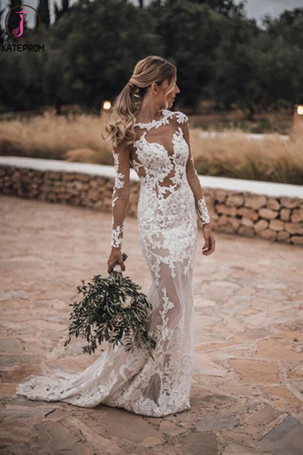 Kateprom Stunning Lace Appliques See Though Mermaid/Turmpet Wedding Dress Backless Rustic Wedding with Sleeves Gowns KPW0631