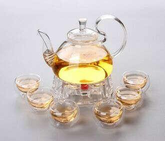 Набор из стекла с чайником , чашками и подставкой