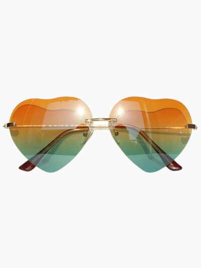 Gradient Yellow-Green Heart Shaped Aviator Sunglasses - Choies.com