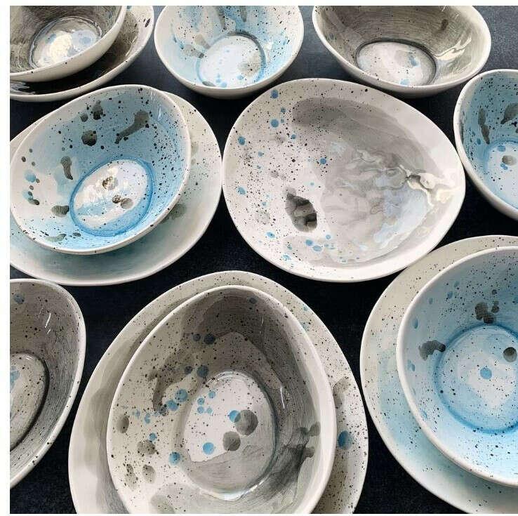 "Посуда из серии ""Грозовое небо"" в голубом цвете из Lina Delika"