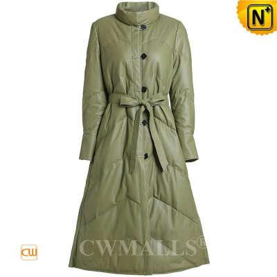 Women Down Coat   Custom Leather Long Down Coat CW602601   CWMALLS®