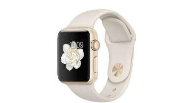 Apple Watch Sport - Корпус 38 мм, золотистый алюминий, спортивный ремешок мраморно-белого цвета