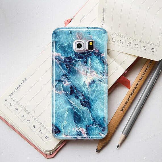 Синий чехол под мрамор для Samsung Galaxy s4