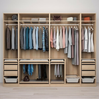 PAX ПАКС / HOKKSUND ХОККСУНД Гардероб, комбинация - под беленый дуб/глянцевый светло-серый - IKEA