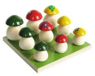 Развивающая игра Грибы на полянке 9 шт изделия народных промыслов купить в интернет-магазине www.SmartyToys.ru