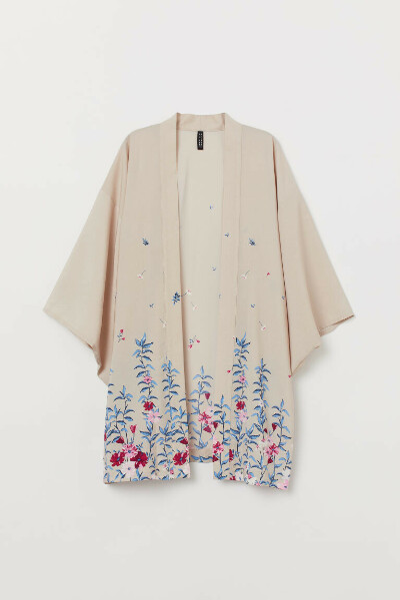 Кимоно с рисунком - светлый/Цветы - | H&M RU
