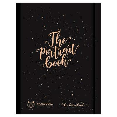 """Скетчбук Maxgoodz """"The Portrait book """" 27*35см, 24 л, 300 г 100% целлюлоза Чёрный с золотом"""