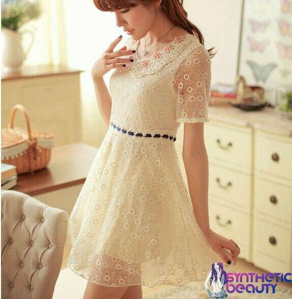 Кружевное платье с вышивкой бусинами