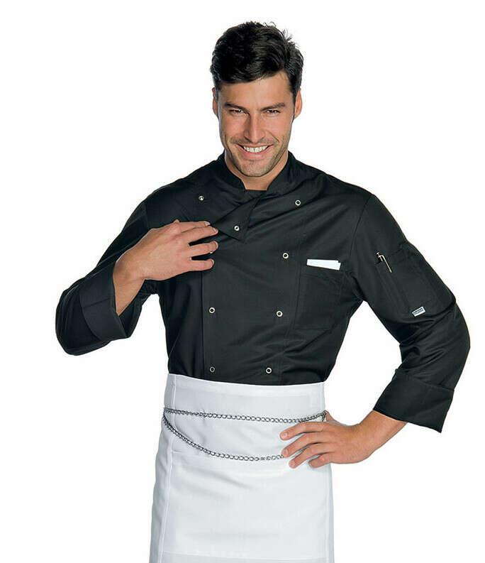 Giacca cuoco chef Durango Isacco 059401 – colore bianco+nero – uomo