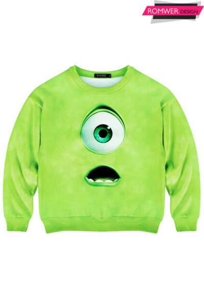 Green Monster Print Sweatshirt