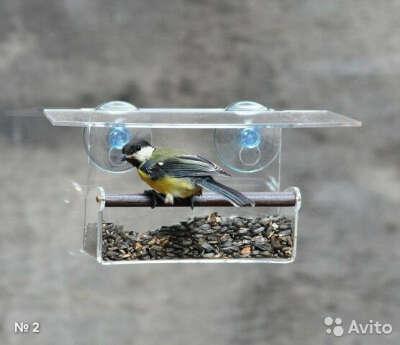 Прозрачная кормушка для птиц на окно