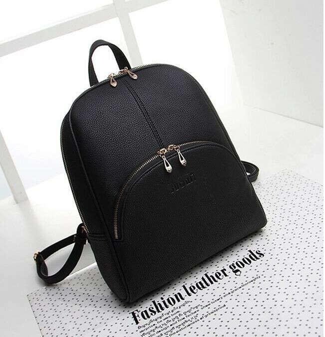 Рюкзак 2015 новинка! Мода женщин открытый спортивный рюкзак искусственная кожа черный и натуралы дорожная сумка свободного покроя старинные девушки сумка