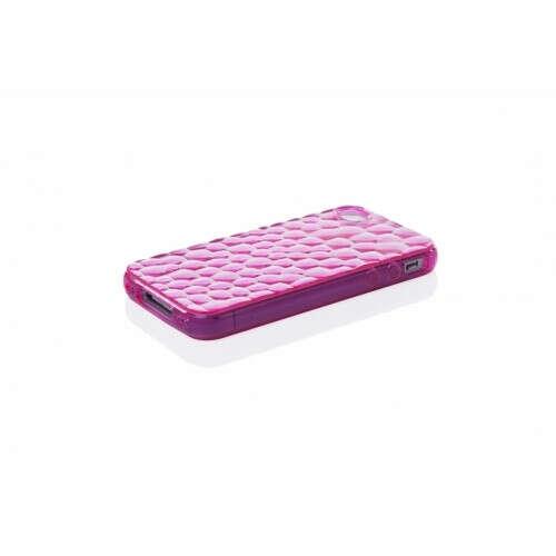 Чехол-накладка iphone 4/4s силиконовый 3d соты розовый