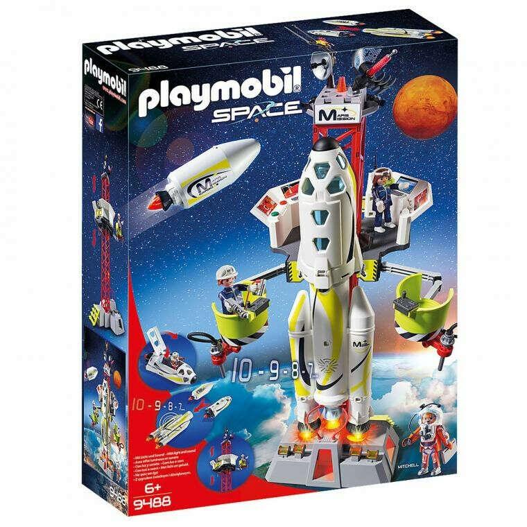 Набор конструктор Космическая Ракета для полета на Марс с пусковой площадкой Playmobil 9488