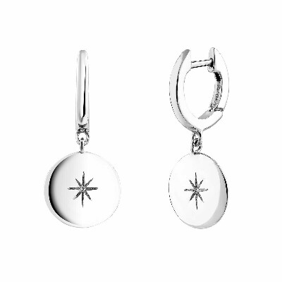 aristocrazy Silver star round motif hoop earrings
