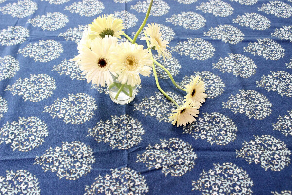 Blue Florals Cotton Six Seater Table Cover