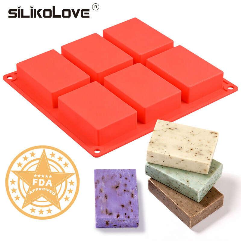 Силиконовая форма с 6 полостями для изготовления мыла,