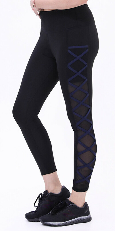 High Waisted Black&Navy Tight Criss-Crossing Side-Mesh Panel