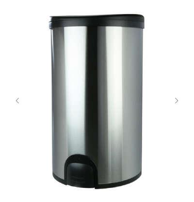 Ведро для мусора, 50 л, с электронной педалью, сталь, серебристое, Push Bin
