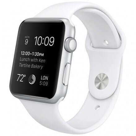 Часы Apple Watch Sport 42 мм, серебристый алюминий, белый спортивный ремешок