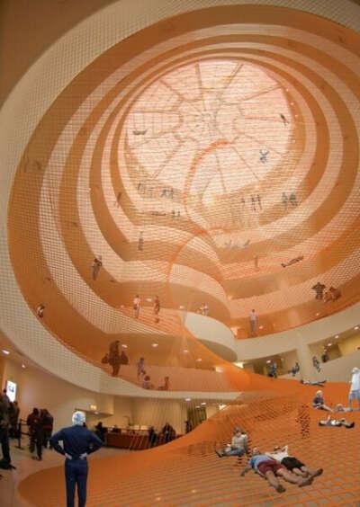 Спиральная сетка-батут в музее Гуггенхайма, Нью-Йорк