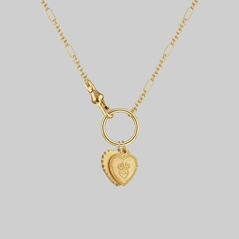 VALENTINA. Multi Heart Charm Clasp Necklace - Gold